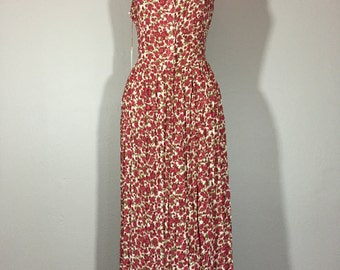 Vintage 90's Semi Sheer Crepe Rayon Floral Maxi Sun Dress M