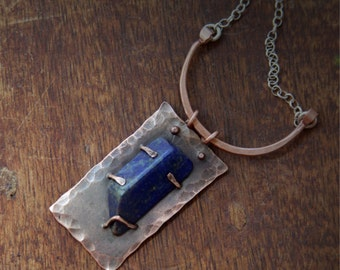 Copper pendant with sodalite - Hammered pendant - Sodalite pendant - Rectangle pendant - OOAK pendant
