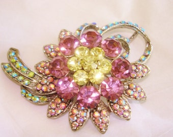 Amethyst Yellow AB Rhinestone Flower Brooch