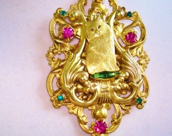 Cat Rhinestone Flower Garden Brooch