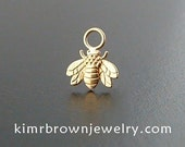 Tiny Bee Charm in 14K Solid Yellow Gold