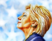 Hillary Clinton, Watercolor portrait, print from original painting,custom portrait, American politics, elections