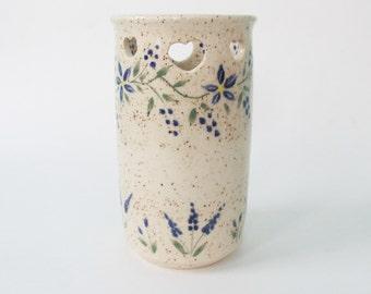 Stoneware Vase with Heart Cutouts, Pottery Vase, Ceramic Vase,  Teacher Gift, Wedding Vase, Shower Vase
