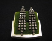 Vintage Silver Tone and Cascading Pave Diamond Rhinestone Dangle Pierced Earrings