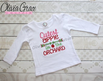 Cutest Apple in the Orchard, Fall Apple Shirt, Apple Festival Shirt, Apple Picking for a Boy or Girl Embroidered Applique Shirt or Bodysuit