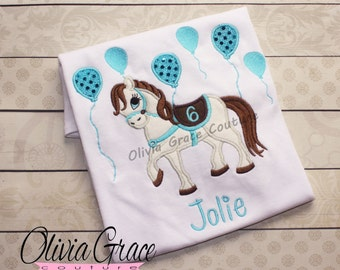 Girls Horse Birthday Shirt, Girls Pony Birthday Shirt, Cowgirl Birthday Shirt, Embroidered Applique Shirt or Bodysuit