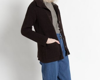 Vintage 60s Black Brown Popcorn Knit Cardigan Sweater | M