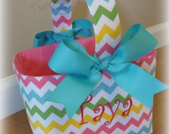Personalized Easter Basket Personalized Easter Bucket Easter Baskets Custom Easter Basket Chevron Easter Basket