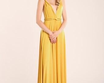 Prom dress, Mustard prom dress, yellow long dress, mustard bridesmaid dress, yellow prom dress, open back dress, yellow evening dresses