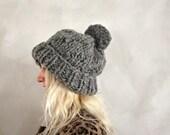 Oversized Pom Pom Beanie / Chunky Knit Beanie / Thick Knit Beanie / Cable Knit Beanie / Gray Pom Pom Beanie / Gift for Her / Womens Gift