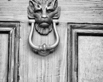 "New Orleans Lion Head Door Knocker Photograph ""NOLA Door Knocker #1"" Fine Art Print. Black and White Photography. 8x10, 11x14, 16x20, 20x24"