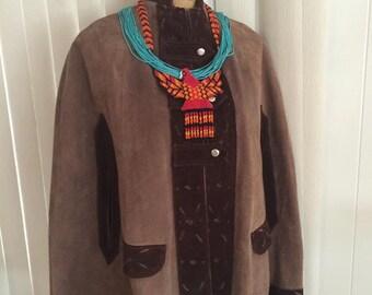 Sale Boho Vintage 60s 70's Leather Southwest Cape -- Size M-L -- Festival