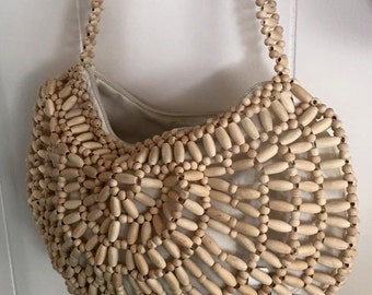 Tiki Time -- Vintage Wood Beaded Purse -- Retro