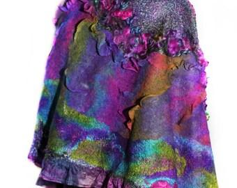 Handmade Nuno Felted Hand Dyed Scarf Wool Silk OOAK Felt Gift Multicolor Felted Wrap