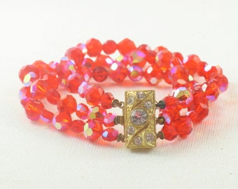 Vintage Orange Aurora Borealis Crystal Triple Strand Bracelet (BR-2-2)