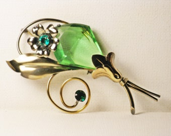 Vintage Gold Filled Art Deco Green Glass Floral Brooch Pin (B-3-5)