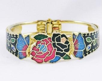 Vintage Floral Enameled Clamper Cuff Bracelet (BR-3-2)