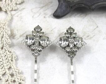 Vintage Jeweled Bridal Hair Pins, Clear Rhinestone Bridal Hair Pins, Heirloom Bridal Hair Pins, Vintage Gatsby Bridal Hair Pins