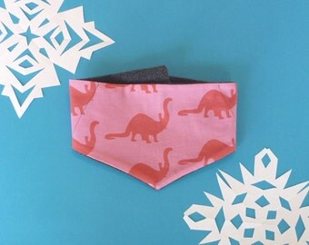 Fleece and Fabric Bandana, Dinosaur Fabric, Pink and Red, Toddlers and Kids