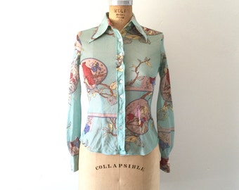 Cat Bird Shirt 1970s Vintage Novelty Print Button-down Top Teal Blue XS