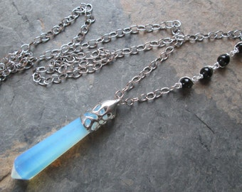 Opalite Pendulum Necklace with Blue Tiger Eye - Bohemian style, Spiritual jewelry