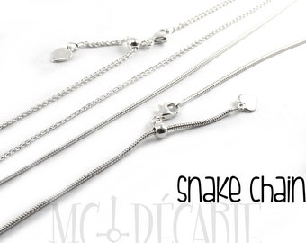 AJUSTABLE Snake OR wheat chain in solid sterling silver, silver 925 ajustable chain,  high quality chain, 1.3mm snake or 1mm to 1.3mm wheat