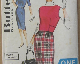 60's Overblouses and Skirt - Butterick 9874 - Size 16 Bust 36 - Vintage Pattern - 1960s Skirt Top Blouse  - Quick N Easy - One Yard Pattern