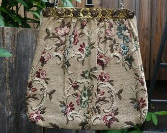 Tapestry Purse Tapestry Handbag Vintage Tapestry Purse Vintage Tapestry Handbag 1960s 60s 1950s 50s Floral Tapestry Handbag Floral Purse