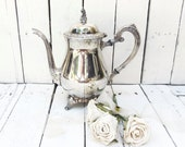 Vintage Silverplate Teapot, Ornate Teapot, Oneida Silver, Park Lane Pattern, Hollowware, Dining Decor, Serving Piece, Tea Service
