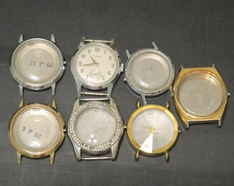 Vintage Mixed lot of 6 Watch Cases & Croton Wrist Watch Jewelry Making Steampunk Altered Art Finding Destash Found object Recycle Upcycle
