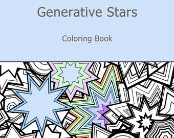 Adult Coloring Book Generative Stars, by generative artist Kristin Henry. Math, Science, Chemistry. colouring color therapy geeky