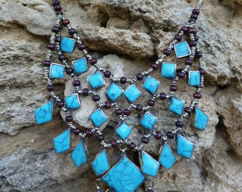 Striking Afghan Tribal Necklace.  Three layers, turquoise.  Hand made.