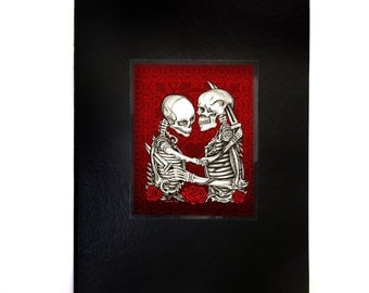 Skeleton Lovers Journal, Love & Hate, Black Leather Writing Notebook with Dark Gothic Art of Red Roses, Original Design