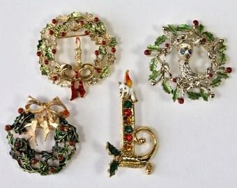 4 Vintage Christmas Pins, Christmas Wreath Pin, Christmas Candle Pin, Holiday Brooch, Deer Wreath Pin, Rhinestone Gold Tone, 1960s