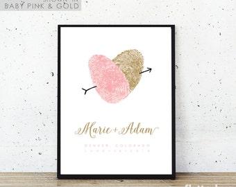 Fingerprint Wedding Guest Book Alternative, Thumbprint Guestbook for Unique Romantic Pink and Gold Wedding Idea