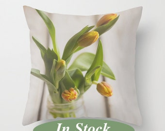 Decorative pillow cover,Spring tulips in a jar pillow, shabby chic throw pillow, yellow white green pillow cover, unique living room decor
