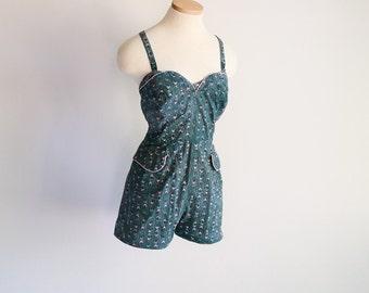 Cotton Playsuit / Swimsuit - Sz M - L