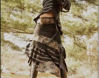 Skirt - Steampunk - Burning Man - Playa Wear - Tribal Overskirt - Belly Dance Clothing - Gypsy Goth - Bohemian - Black - Sexy - Size Large