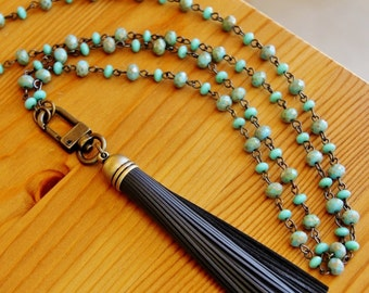 Charcoal Leather tassel pendant necklace, dark grey tassel necklace, green necklace, yoga necklace, ethnic necklace, tribal necklace, OOAK