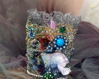 Romance cuff, bold cuff with antique laces, bohemian wrist wrap,beading and crystals