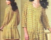 VOGUE 1177 UNCUT Anna Sui Size 8 10 12 14 Boho Peasant Babydoll Dress and Slip 3/4 Sleeve Sash Designer Pattern OOP