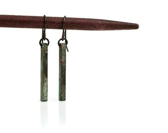 Patina Bar Earrings / Verdigris Patina / Stick Earrings / Square Bar Earrings / Verdigris Jewelry / Brass Bar Earrings