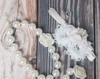 ivory necklace cream bubblegum necklace, little girl necklace, chunky bead necklace bubble gum necklace, toddler necklace baby girl necklace