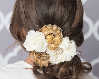 Ivory hair clip, shiny gold hair clip, christmas gift for her, wedding hair accessories, flower girl hair clip, gold accessory, womens clip