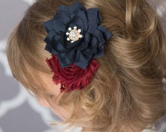Navy flower clip, Navy hair clip, burgundy hair clip, maroon hair clip, girl hair accessories, bridal hair clip, flower girl accessories
