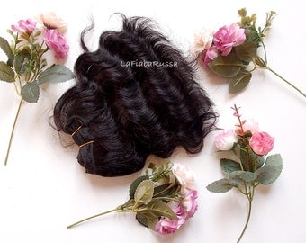 Wefted wavy hair black for waldorf, Blythe natural Wool Hair, Blythe Doll Reroots, tress, fabric dolls, coarse mohair goat