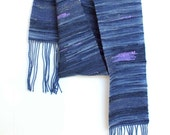 Hand Dyed, Hand Spun, Hand Woven, Soft Blue and Gold Scarf