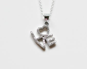 Love necklace - sterling silver clear crystal diamond cubic zirconia cz studded - wedding bridal delicate elegant romantic jewelry - Audrey