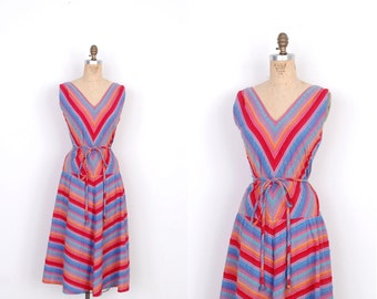 Vintage 1970s Dress / 70s Chevron Striped Cotton Dress / Blue Pink Orange (XL extra large)