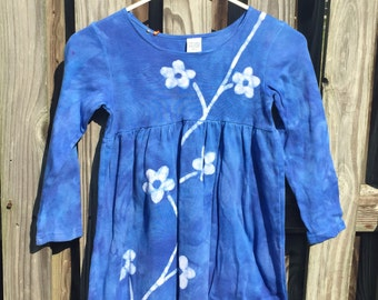 Batik Girls Dress, Blue Flowers Dress, Flower Girls Dress, Blue Girls Dress, Girls Flower Dress, Long Sleeve Dress, Empire Waist Dress (6)
